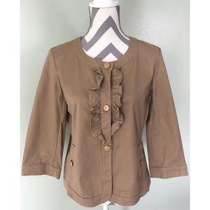 TALBOTS Brown Khaki Button Up Ruffle Shirt Coat